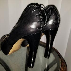 Black genuine leather peep toe